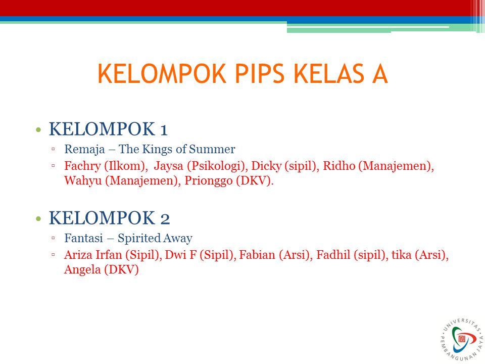 KELOMPOK PIPS KELAS A KELOMPOK 1 KELOMPOK 2