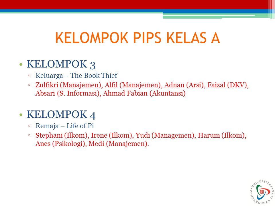 KELOMPOK PIPS KELAS A KELOMPOK 3 KELOMPOK 4 Keluarga – The Book Thief