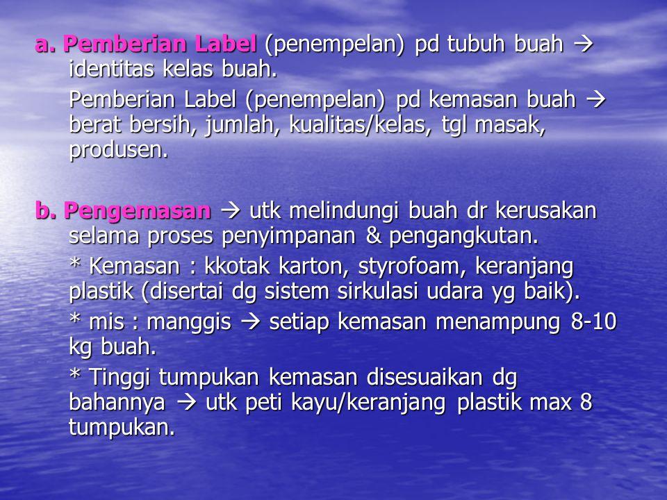 a. Pemberian Label (penempelan) pd tubuh buah  identitas kelas buah.
