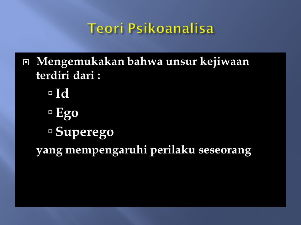 Teori Psikoanalisa Id Ego Superego