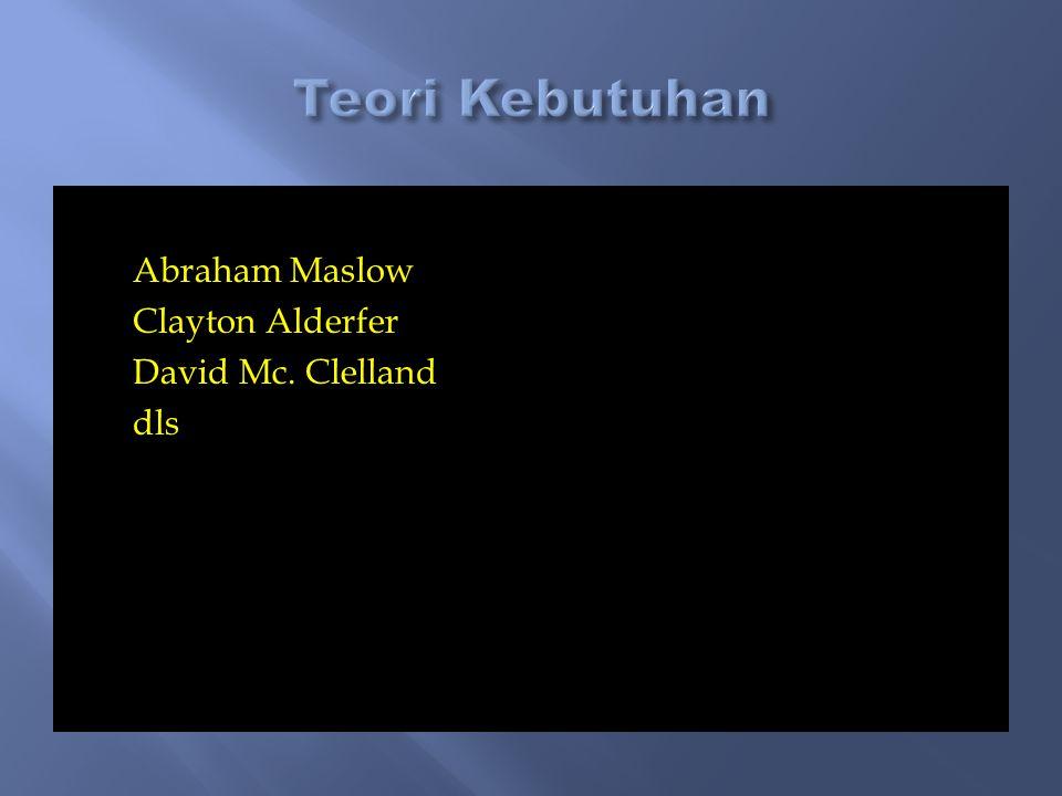 Teori Kebutuhan Abraham Maslow Clayton Alderfer David Mc. Clelland dls