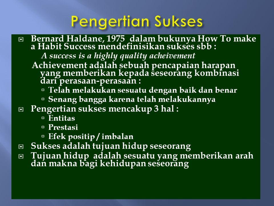 Pengertian Sukses Bernard Haldane, 1975 dalam bukunya How To make a Habit Success mendefinisikan sukses sbb :