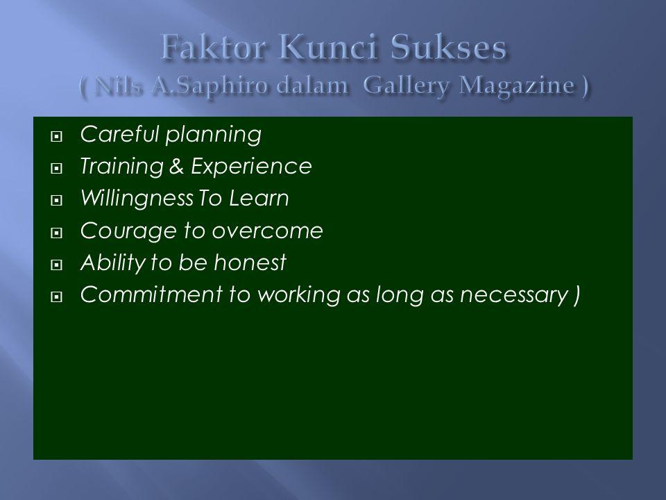 Faktor Kunci Sukses ( Nils A.Saphiro dalam Gallery Magazine )