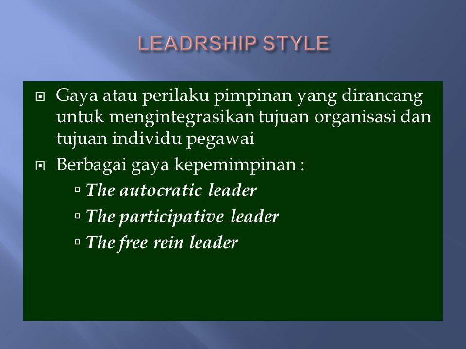 Leadrship Style Gaya atau perilaku pimpinan yang dirancang untuk mengintegrasikan tujuan organisasi dan tujuan individu pegawai.