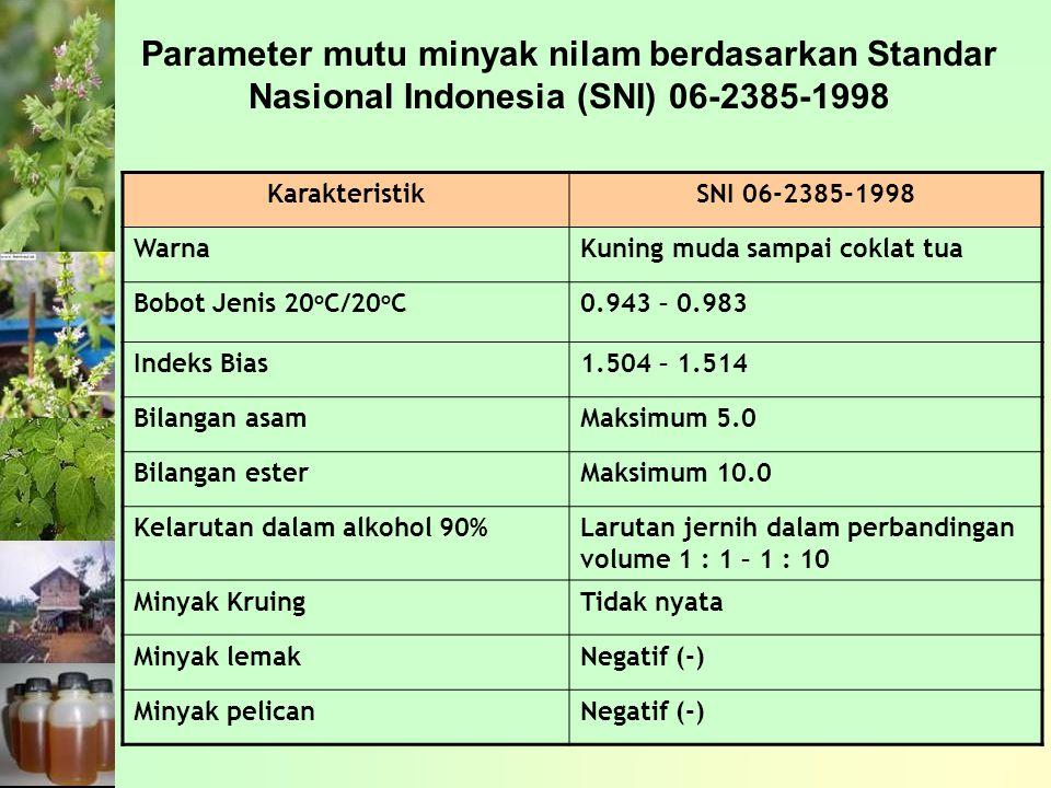 Parameter mutu minyak nilam berdasarkan Standar Nasional Indonesia (SNI) 06-2385-1998