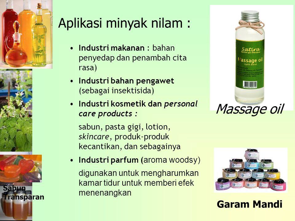 Aplikasi minyak nilam :