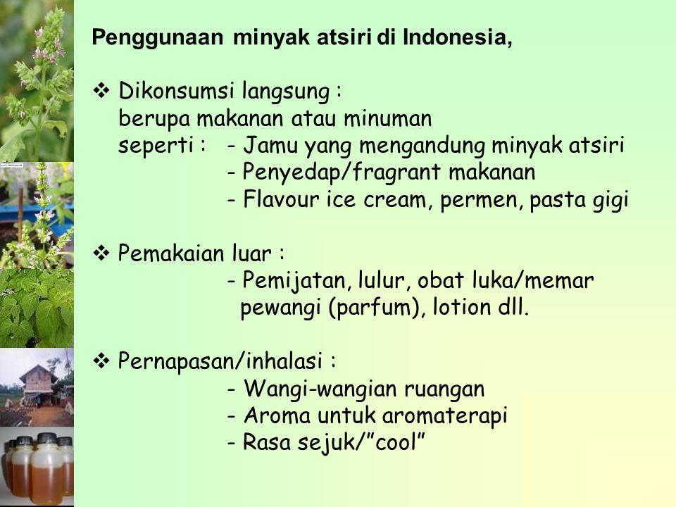 Penggunaan minyak atsiri di Indonesia,