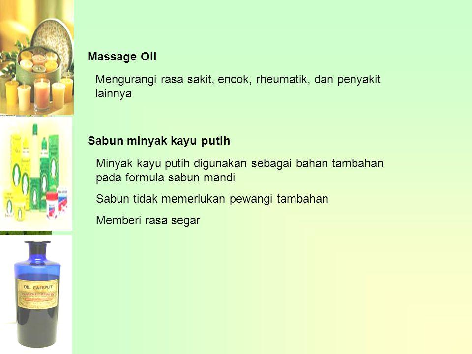 Massage Oil Mengurangi rasa sakit, encok, rheumatik, dan penyakit lainnya. Sabun minyak kayu putih.