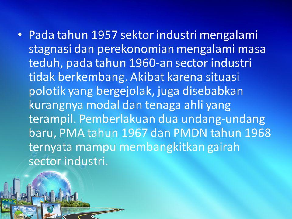 Pada tahun 1957 sektor industri mengalami stagnasi dan perekonomian mengalami masa teduh, pada tahun 1960-an sector industri tidak berkembang.