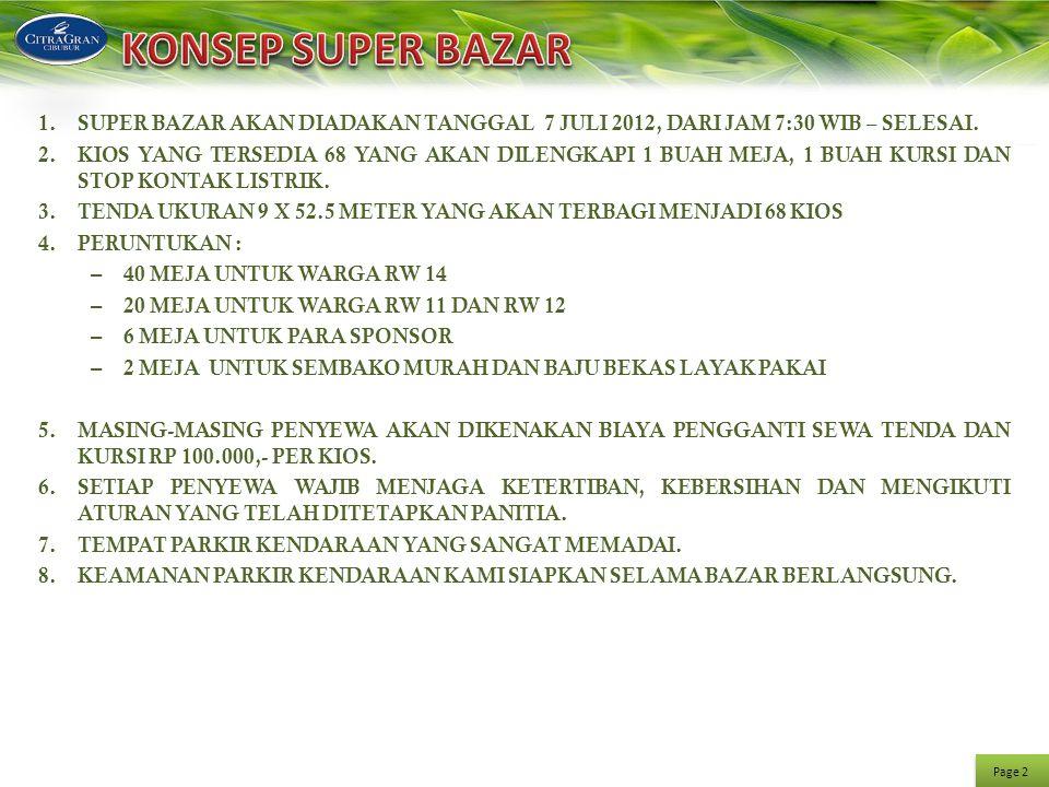 KONSEP SUPER BAZAR SUPER BAZAR AKAN DIADAKAN TANGGAL 7 JULI 2012, DARI JAM 7:30 WIB – SELESAI.
