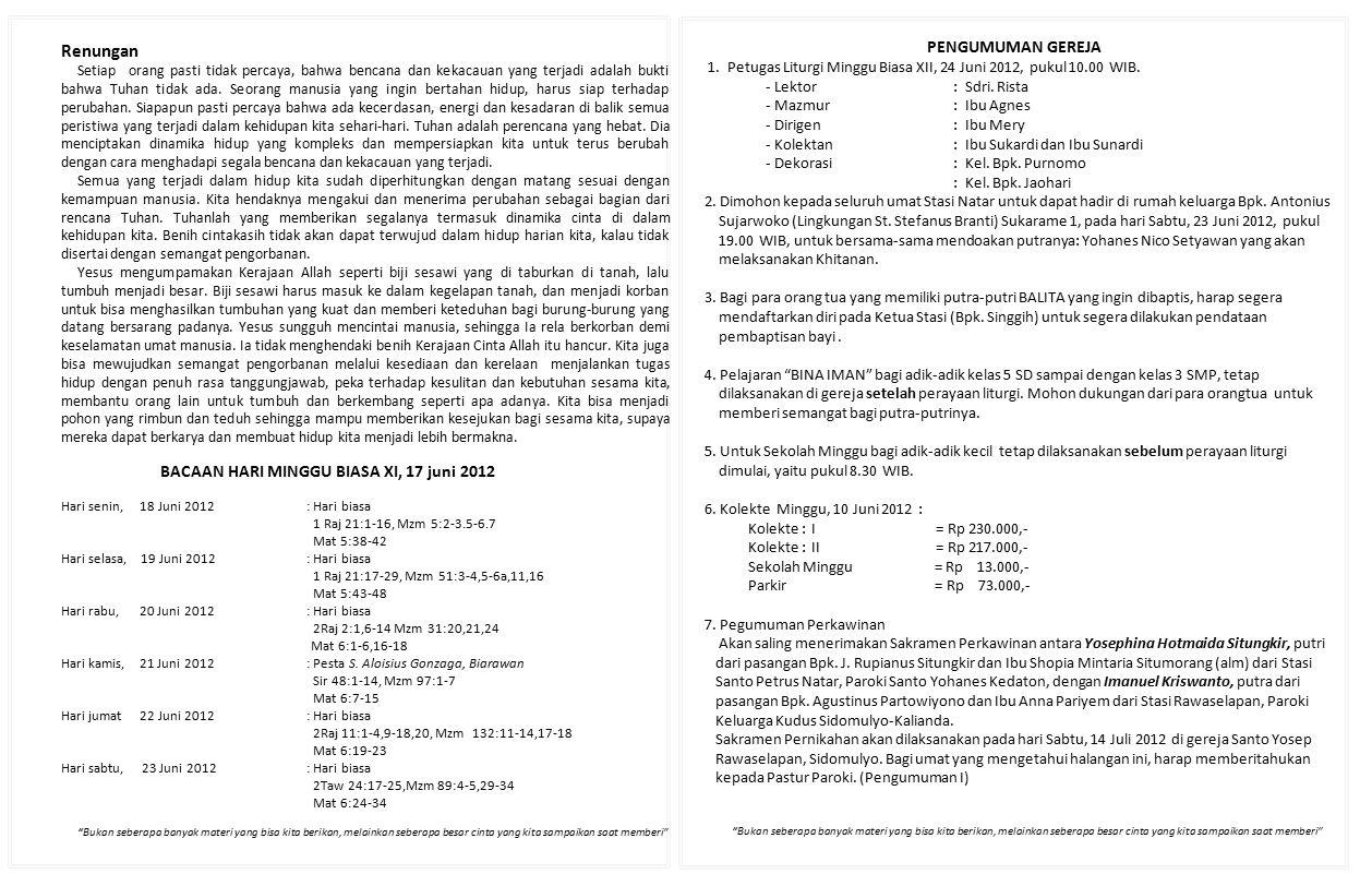 BACAAN HARI MINGGU BIASA XI, 17 juni 2012