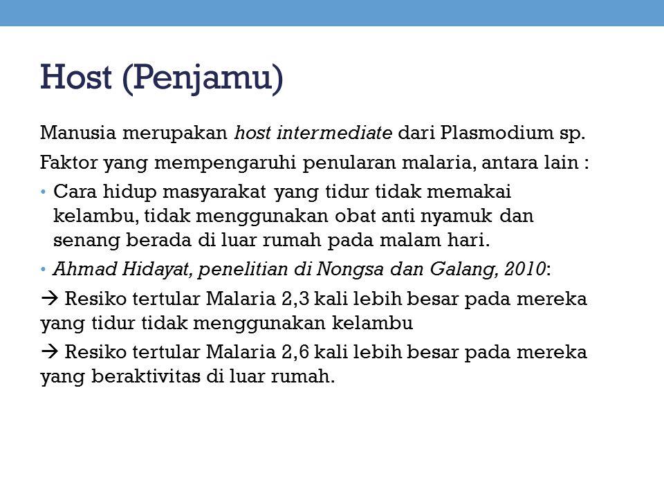 Host (Penjamu) Manusia merupakan host intermediate dari Plasmodium sp.