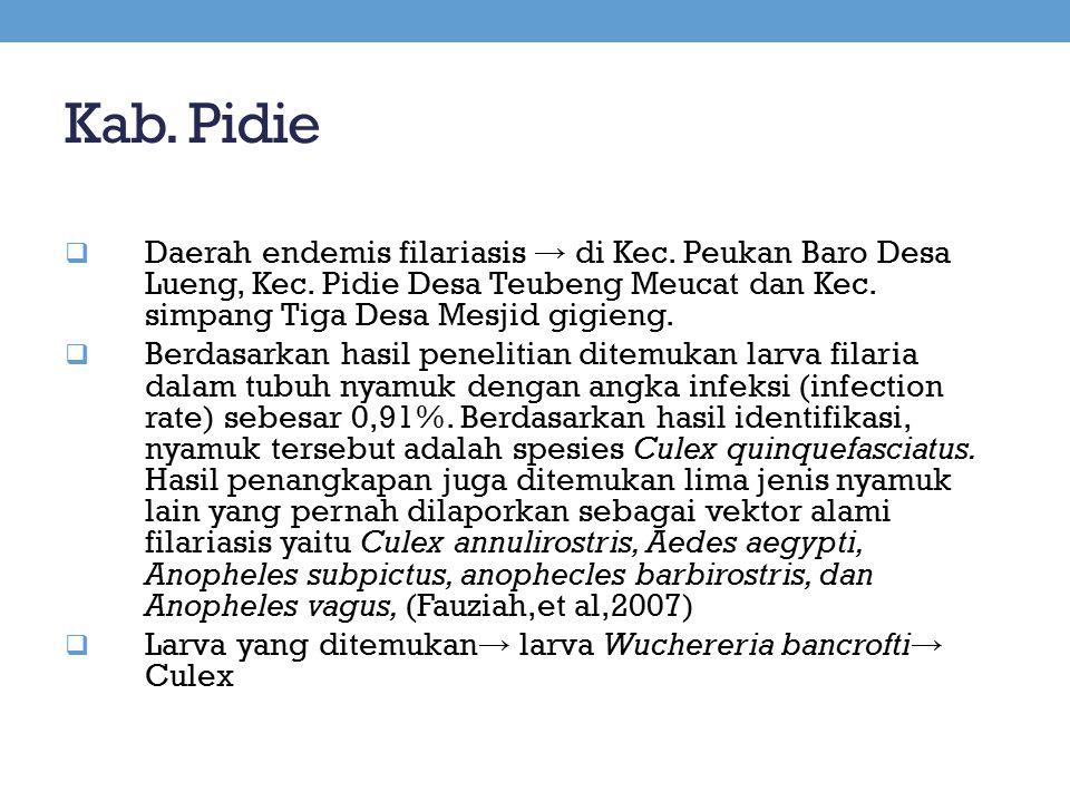 Kab. Pidie Daerah endemis filariasis → di Kec. Peukan Baro Desa Lueng, Kec. Pidie Desa Teubeng Meucat dan Kec. simpang Tiga Desa Mesjid gigieng.