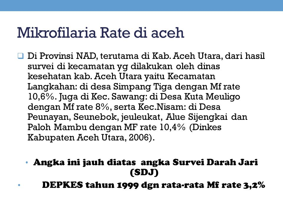 Mikrofilaria Rate di aceh