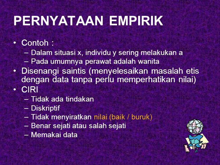 PERNYATAAN EMPIRIK Contoh :