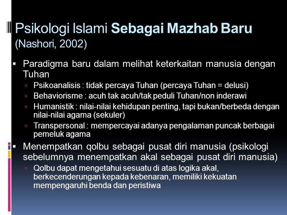 Psikologi Islami Sebagai Mazhab Baru (Nashori, 2002)