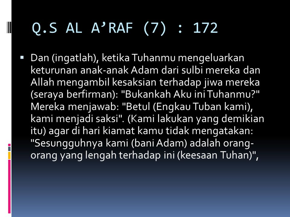Q.S AL A'RAF (7) : 172