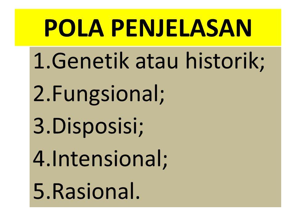 POLA PENJELASAN Genetik atau historik; Fungsional; Disposisi;