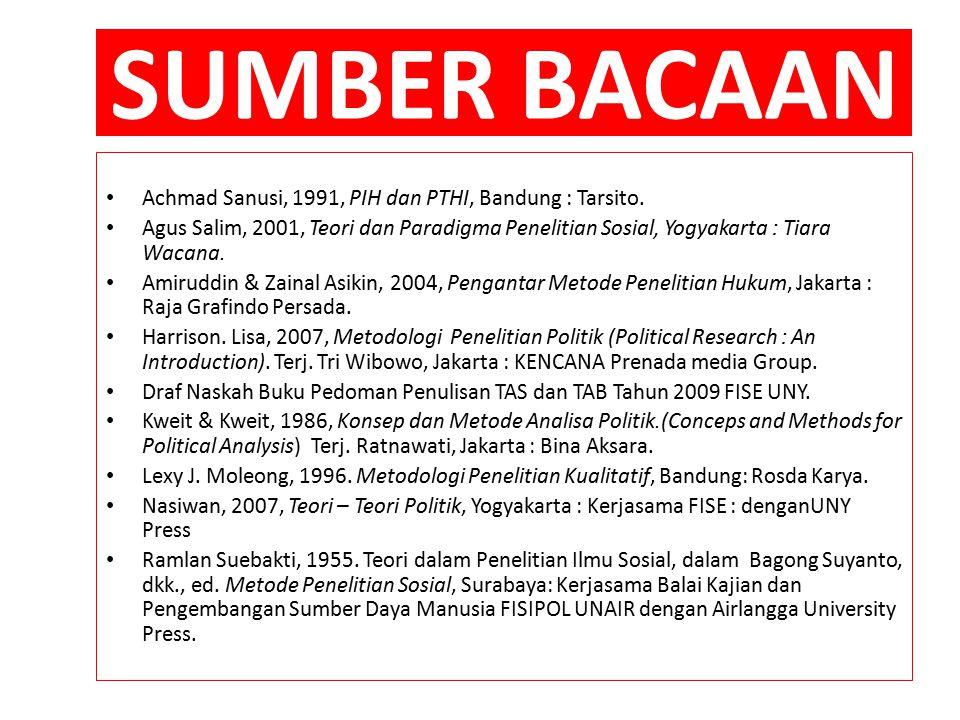 SUMBER BACAAN Achmad Sanusi, 1991, PIH dan PTHI, Bandung : Tarsito.