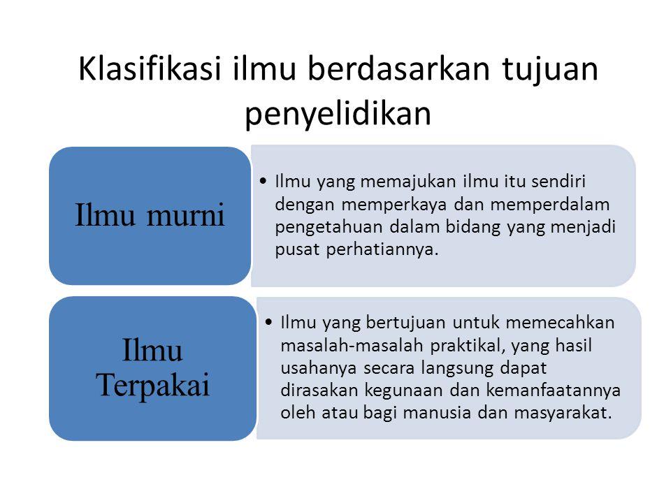 Klasifikasi ilmu berdasarkan tujuan penyelidikan