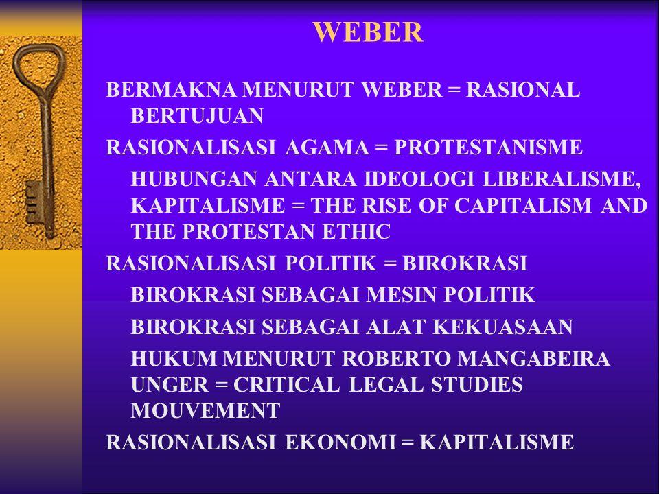 WEBER BERMAKNA MENURUT WEBER = RASIONAL BERTUJUAN