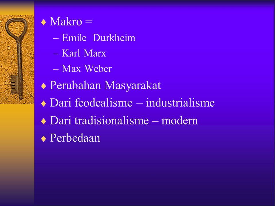 Dari feodealisme – industrialisme Dari tradisionalisme – modern