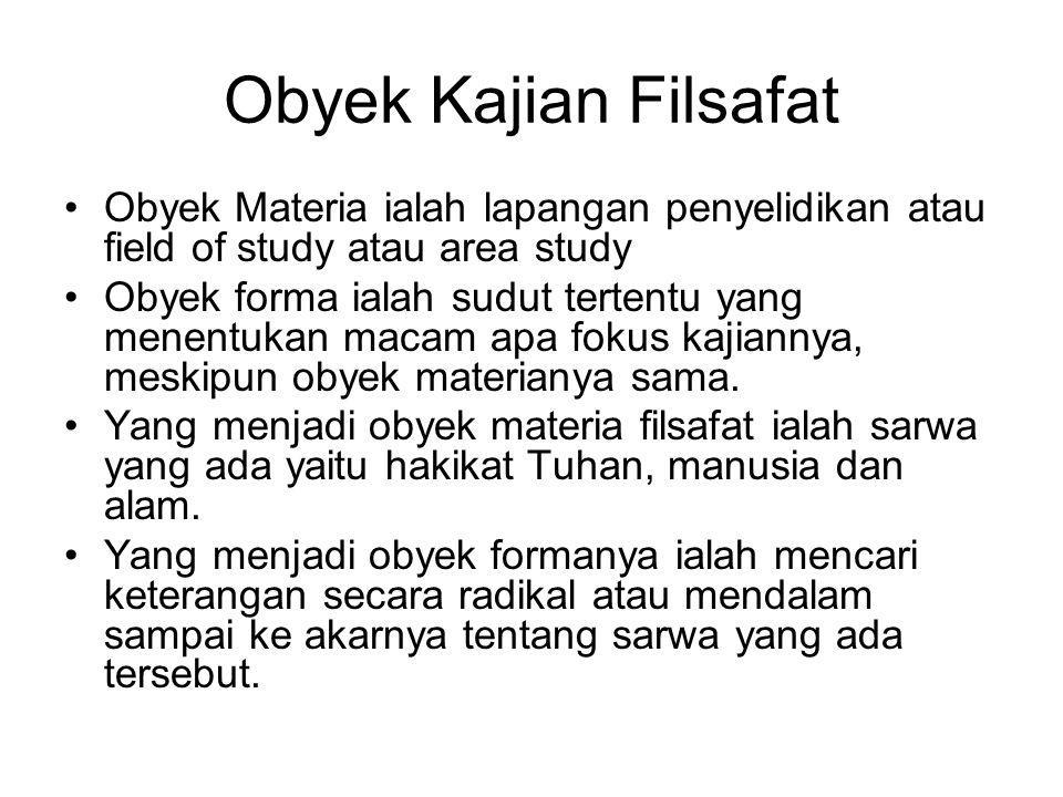Obyek Kajian Filsafat Obyek Materia ialah lapangan penyelidikan atau field of study atau area study.
