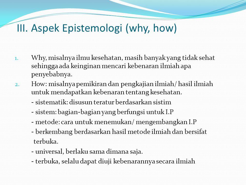 III. Aspek Epistemologi (why, how)