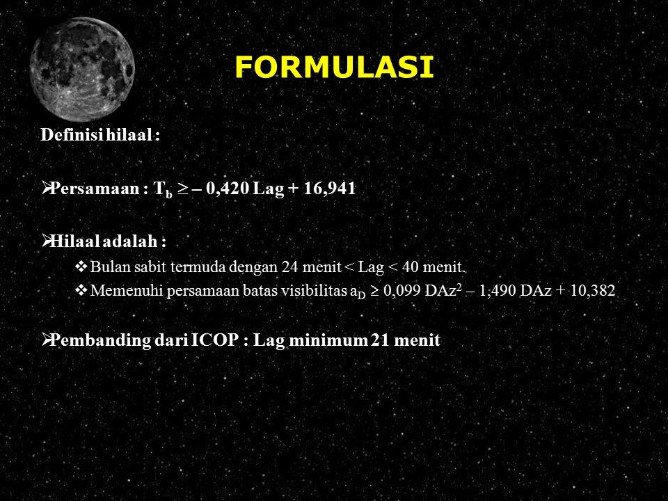 FORMULASI Definisi hilaal : Persamaan : Tb  – 0,420 Lag + 16,941