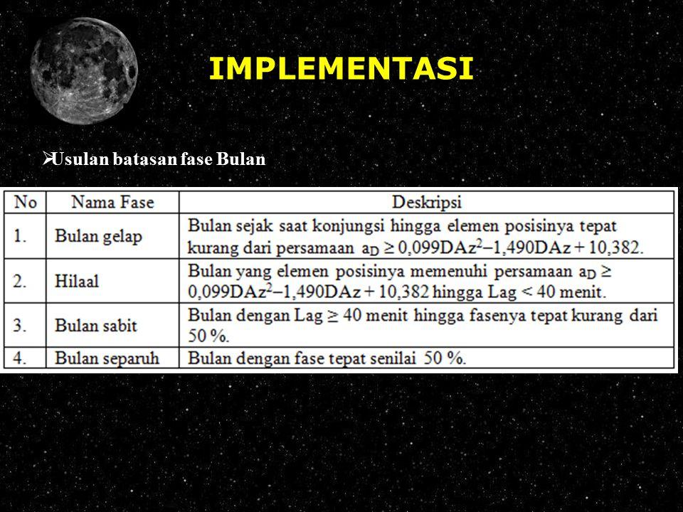 IMPLEMENTASI Usulan batasan fase Bulan