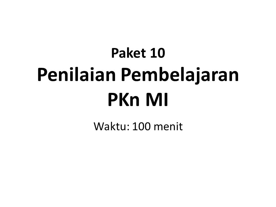 Paket 10 Penilaian Pembelajaran PKn MI