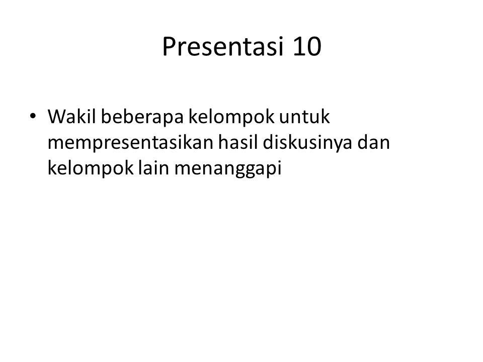 Presentasi 10 Wakil beberapa kelompok untuk mempresentasikan hasil diskusinya dan kelompok lain menanggapi.