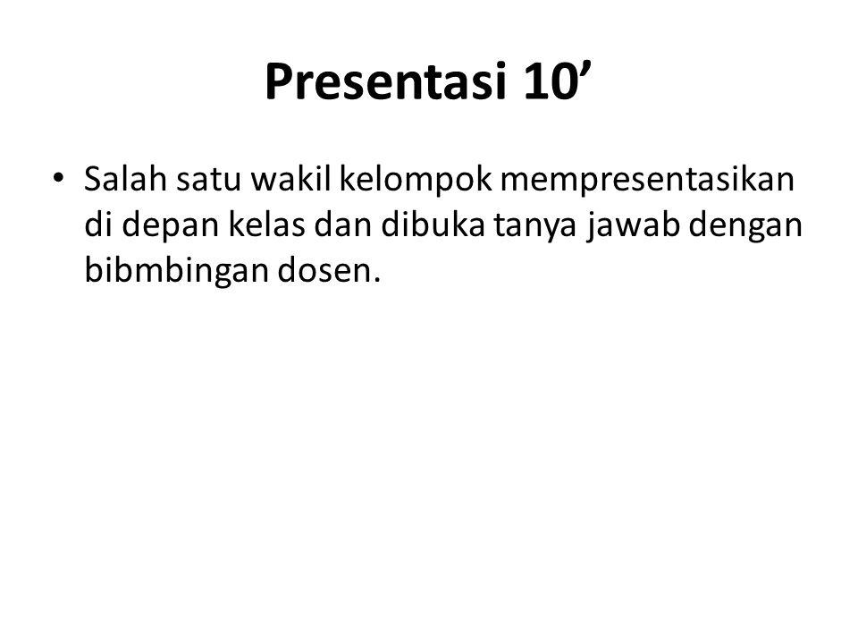 Presentasi 10' Salah satu wakil kelompok mempresentasikan di depan kelas dan dibuka tanya jawab dengan bibmbingan dosen.