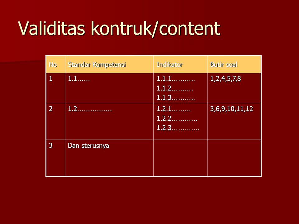 Validitas kontruk/content