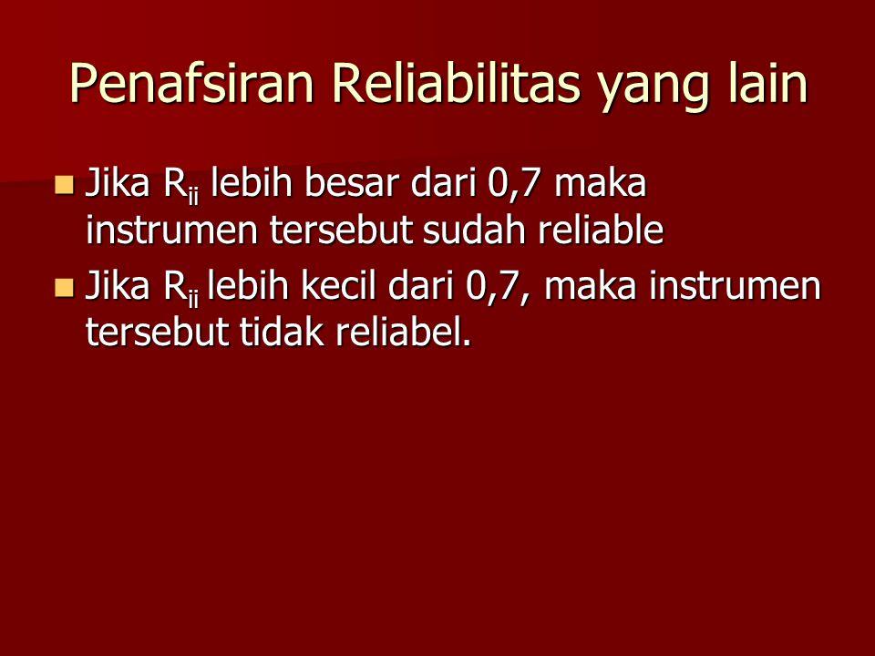 Penafsiran Reliabilitas yang lain