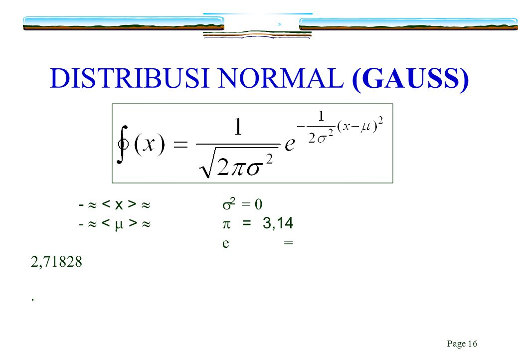DISTRIBUSI NORMAL (GAUSS)