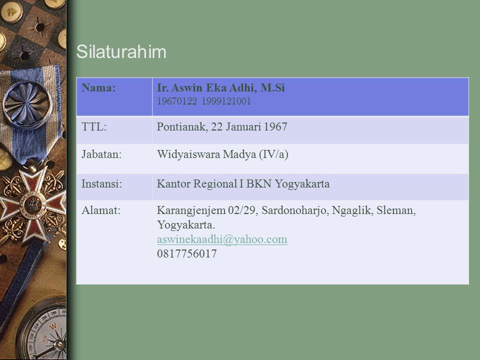 Silaturahim Nama: Ir. Aswin Eka Adhi, M.Si TTL: