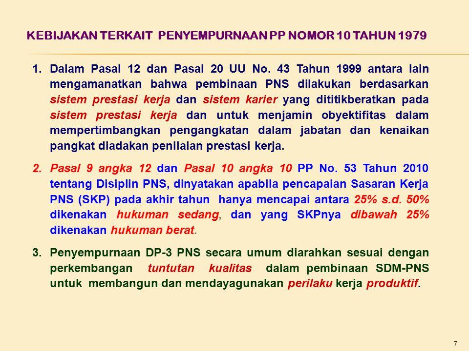 KEBIJAKAN TERKAIT PENYEMPURNAAN PP NOMOR 10 TAHUN 1979