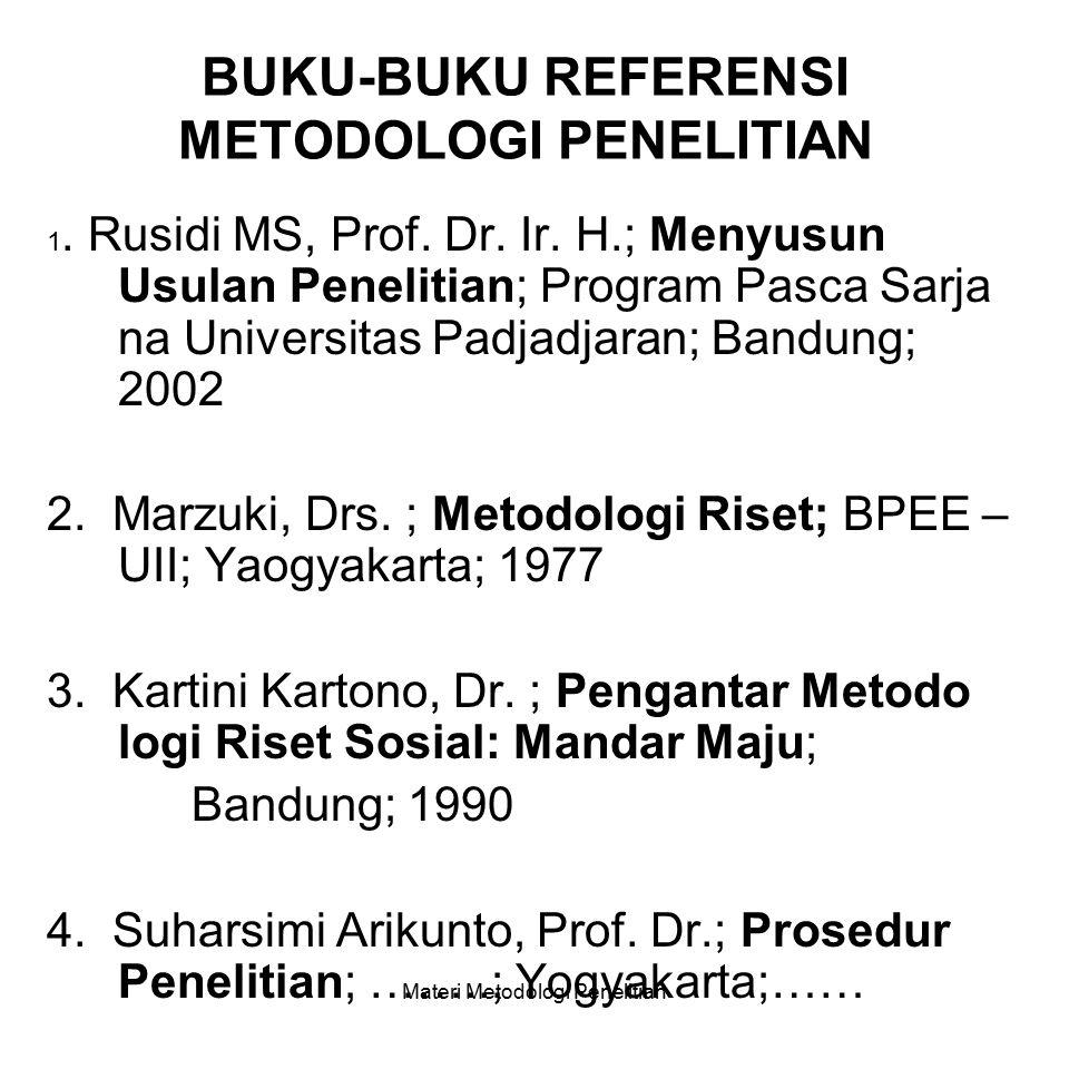METODOLOGI PENELITIAN PROGRAM STUDI STRATA-1