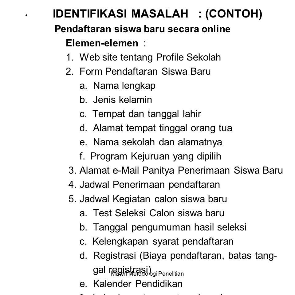 III. IDENTIFIKASI MASALAH