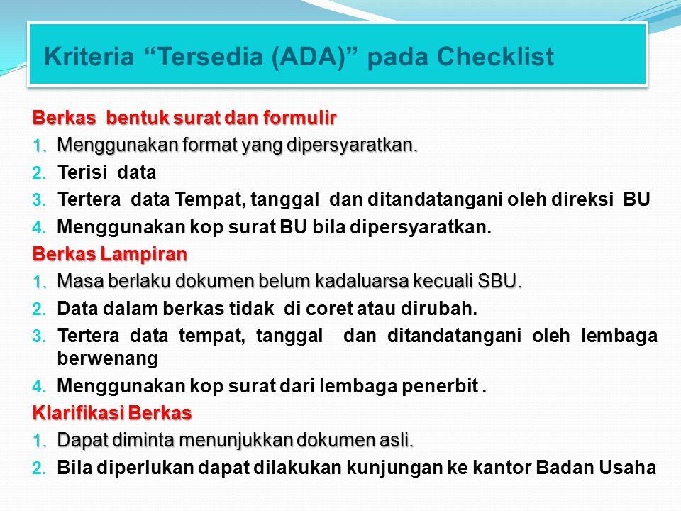 Kriteria Tersedia (ADA) pada Checklist