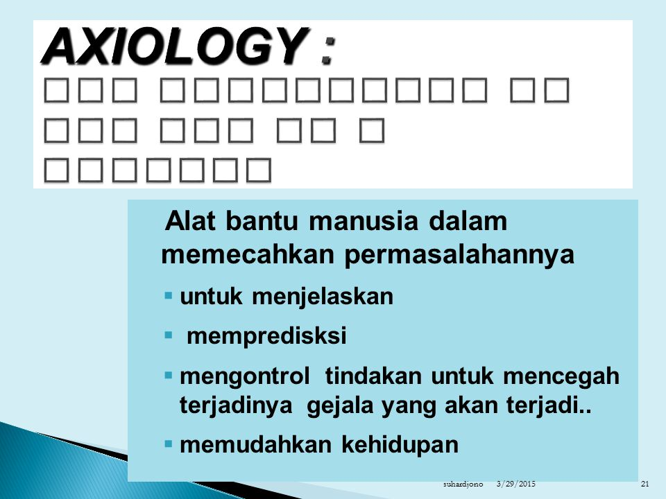 AXIOLOGY : THE PRINCIPLES OF THE USE OF A SCIENCE
