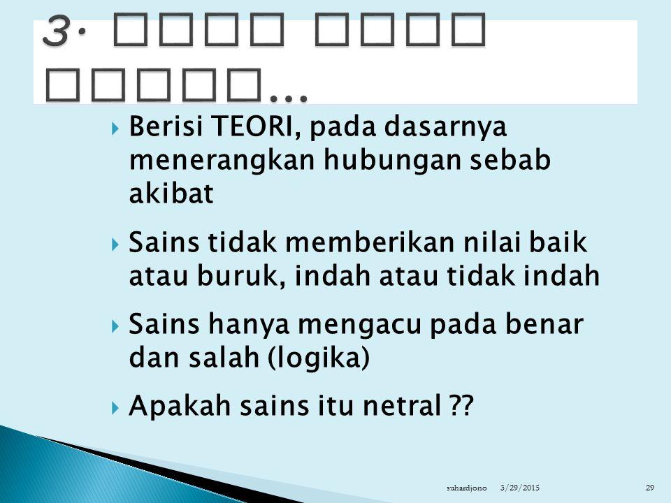 3. Ilmu atau sains… Berisi TEORI, pada dasarnya menerangkan hubungan sebab akibat.