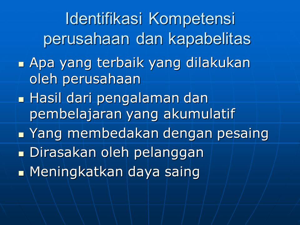 Identifikasi Kompetensi perusahaan dan kapabelitas
