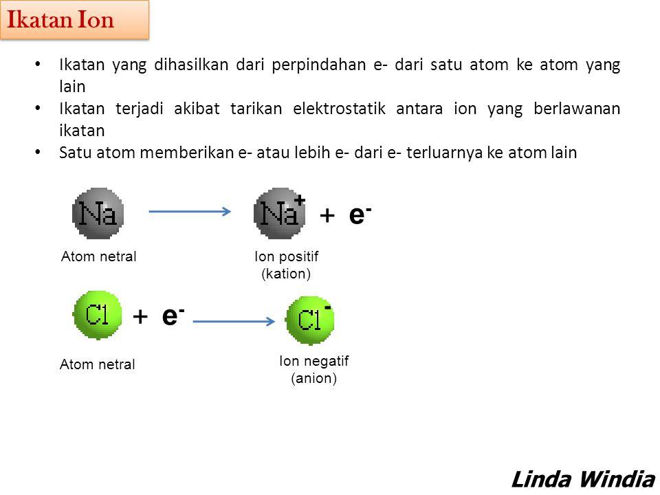 e- Ikatan Ion + - Linda Windia Sundarti