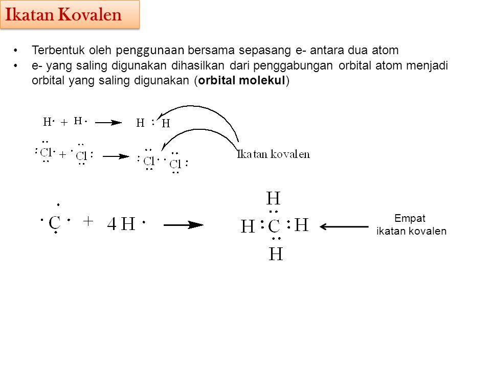 Ikatan Kovalen Terbentuk oleh penggunaan bersama sepasang e- antara dua atom.