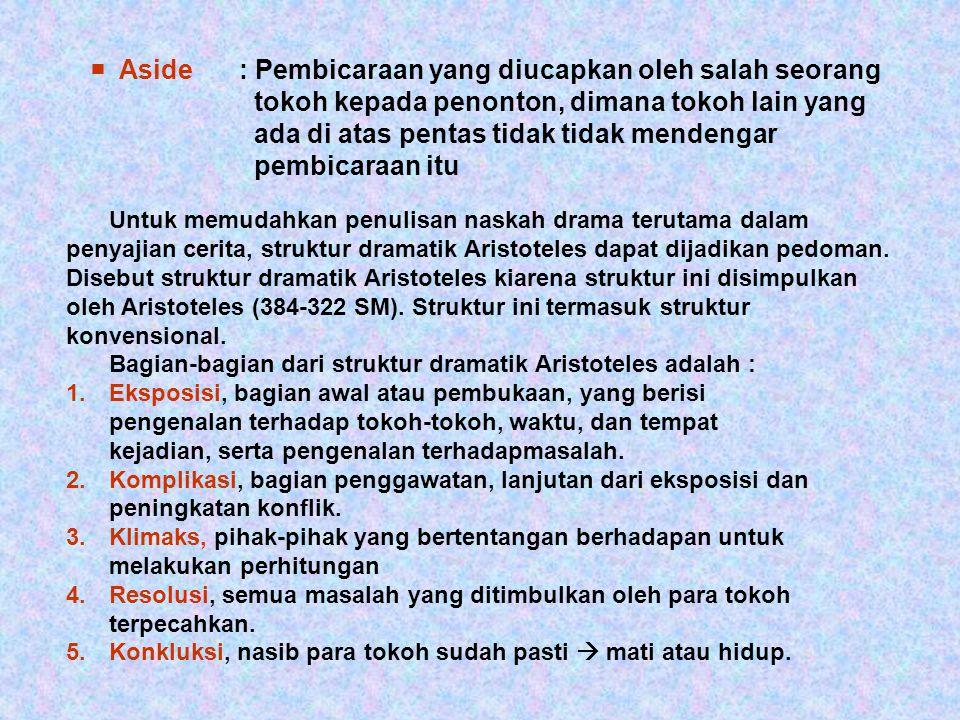  Aside. : Pembicaraan yang diucapkan oleh salah seorang