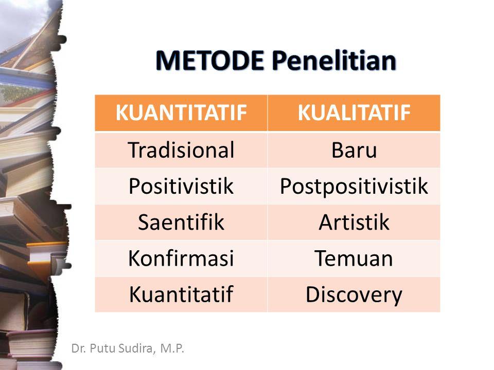 METODE Penelitian KUANTITATIF KUALITATIF Tradisional Baru Positivistik