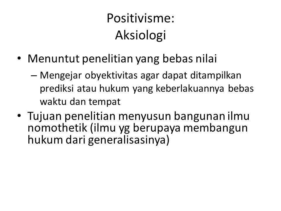 Positivisme: Aksiologi