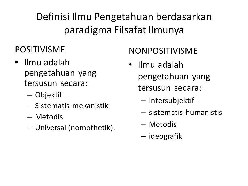 Definisi Ilmu Pengetahuan berdasarkan paradigma Filsafat Ilmunya
